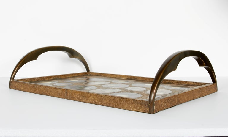 Organic Modern Shagreen Tray with Mother of Pearl Inlays and Bronze Hardware In Excellent Condition For Sale In Miami, FL