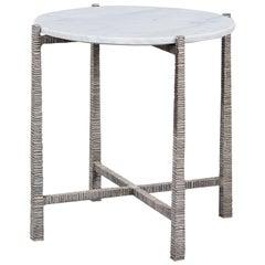 Organic Modern Side Table, Silvered