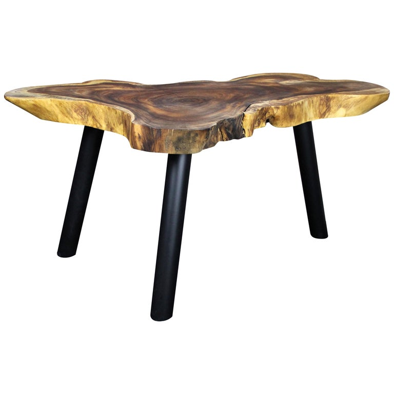 Organic Modern Suar Wood Dining Table or Side Table, 2020 For Sale