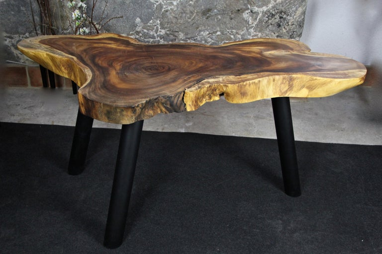 Lacquered Organic Modern Suar Wood Dining Table or Side Table, 2020 For Sale