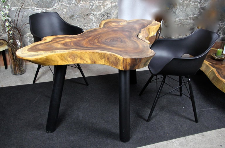 Organic Modern Suar Wood Dining Table or Side Table, 2020 For Sale 1