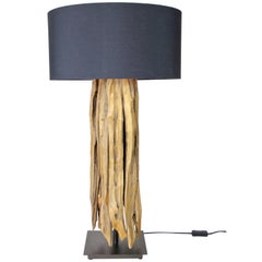 Organic Modern Table Lamp with Old Driftwood and Greyblue Lampshade