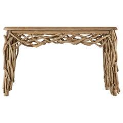 Organic Modern Teak Driftwood Console Sofa Table