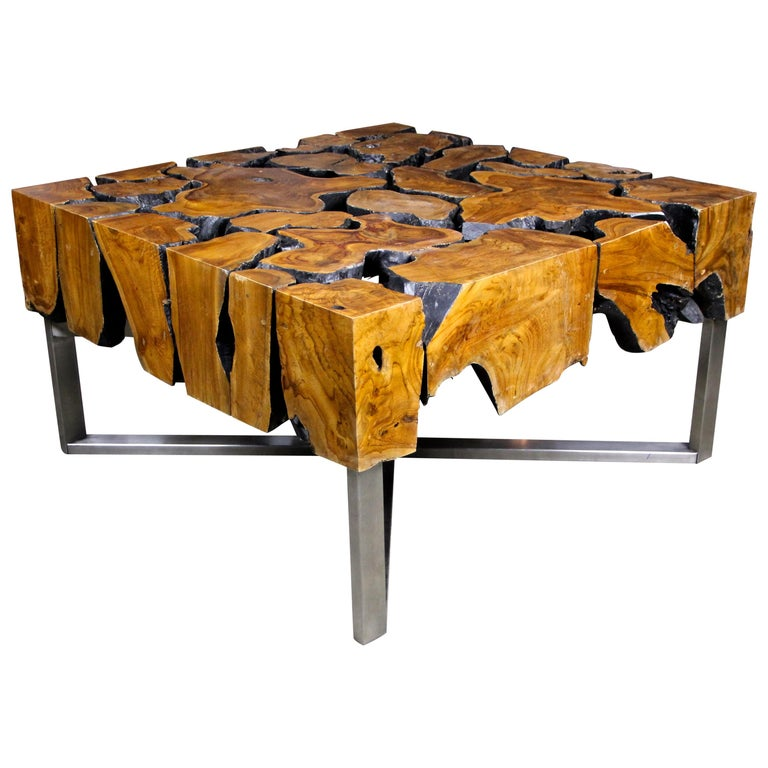 "Organic Modern Teak Root Coffee Table ""The Puzzle"" on Stainless Steel Base For Sale"