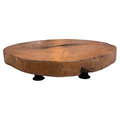 Organic Modern Tree Trunk Slice Oversized Coffee Table in Peroba Wood