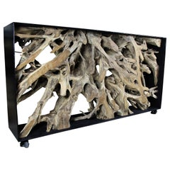 Organic Modern Wall Console/ Sideboard Large Teak Root in Black Metal Frame