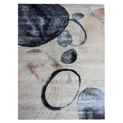 Organic Modern Watercolor Circles Beige, Nude, Blue, Brown Wool Hand-Knotted Rug