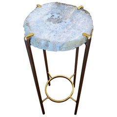 Organic Modern White and Gray Quartzite Geode Drink Table with Gold Gilt Base