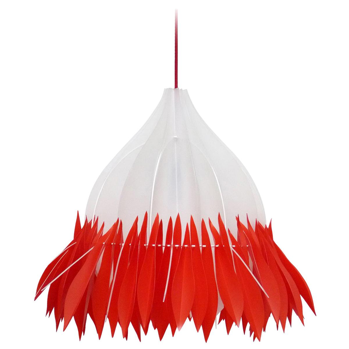 Organic Modern White and Red Chandelier Pendant, France, 2018