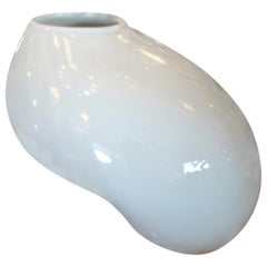 Organic Asian Modern White Ceramic Water Bag Vase Made by Spin Ceramics Shanghai