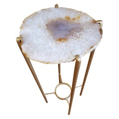 Organic Modern White Lavender and Tan Drink Table with Gold Gilt Base