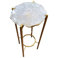 Organic Modern White Quartzite Geode Drink Table with Gold Gilt Base