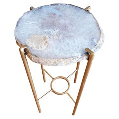 Organic Modern White Tan and Mauve Geode Drink Table with Gold Gilt Base