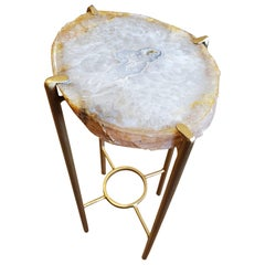 Organic Modern White, Tan, Gray Quartzite Geode Drink Table with Gold Gilt Base