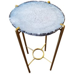 Organic Modern White with Dark Brown Edge Geode Drink Table with Gold Gilt Base