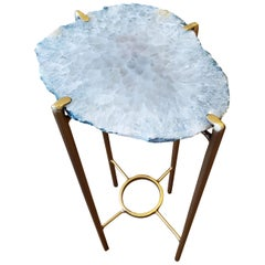 Organic Modern White with Green Edge Geode Drink Table with Gold Gilt Base
