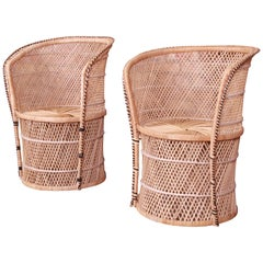 Pair of Organic Modern Wicker and Rattan Club Chairs