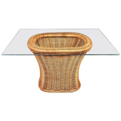 Organic Modern Woven Wicker Rattan Side or End Table with Rectangular Glass