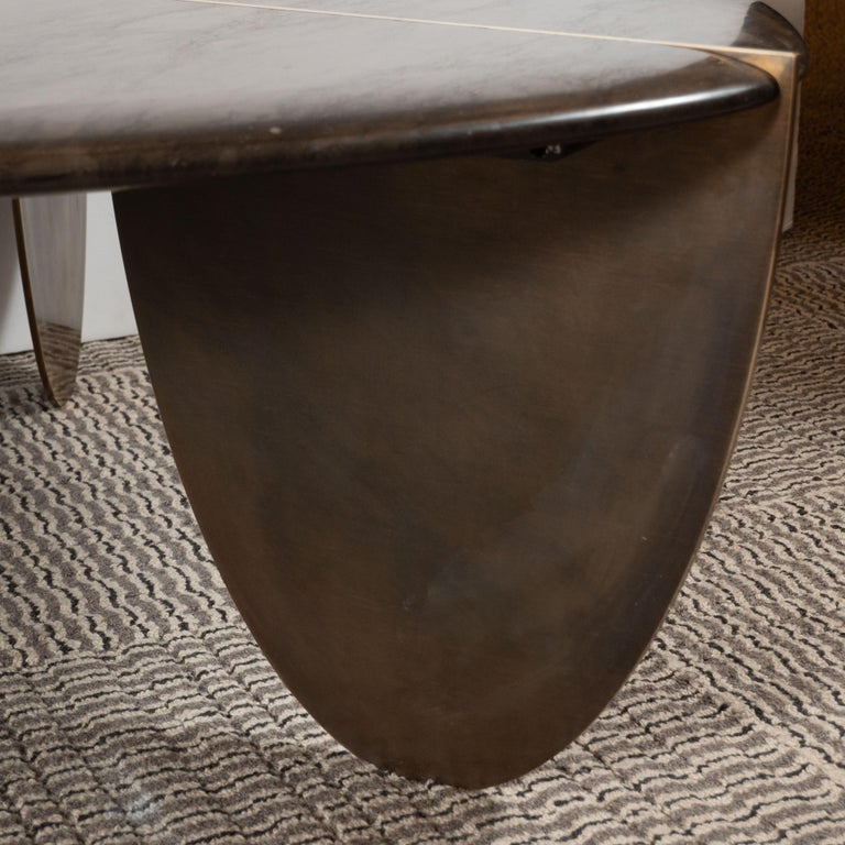 Organic Modernist Armani Marble Cocktail Table with Patinated Bronze Feet For Sale 5