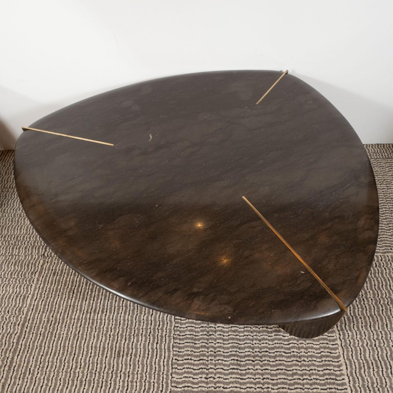 American Organic Modernist Armani Marble Cocktail Table with Patinated Bronze Feet For Sale