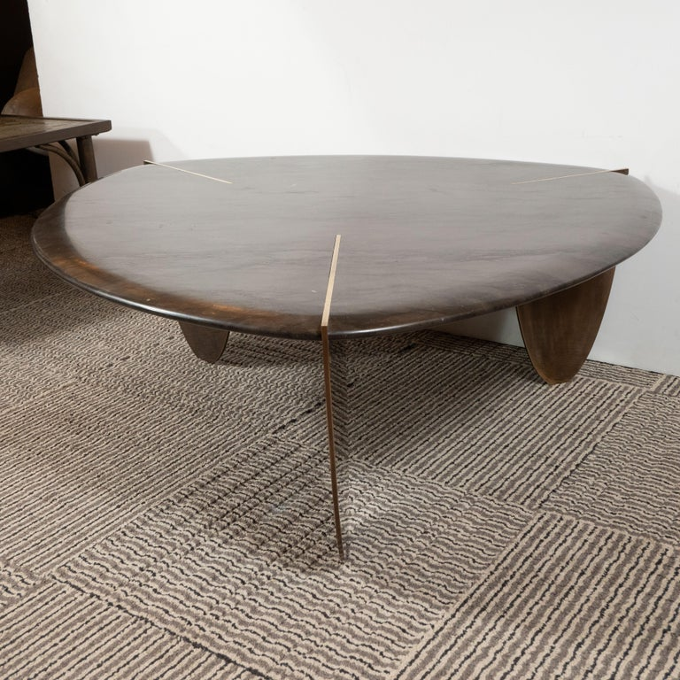 Contemporary Organic Modernist Armani Marble Cocktail Table with Patinated Bronze Feet For Sale