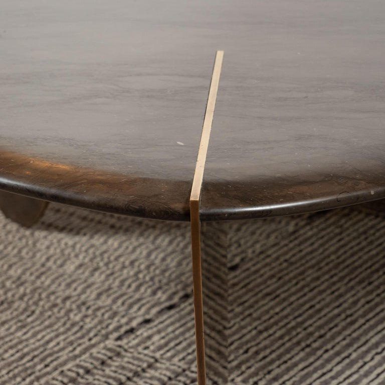 Organic Modernist Armani Marble Cocktail Table with Patinated Bronze Feet For Sale 1