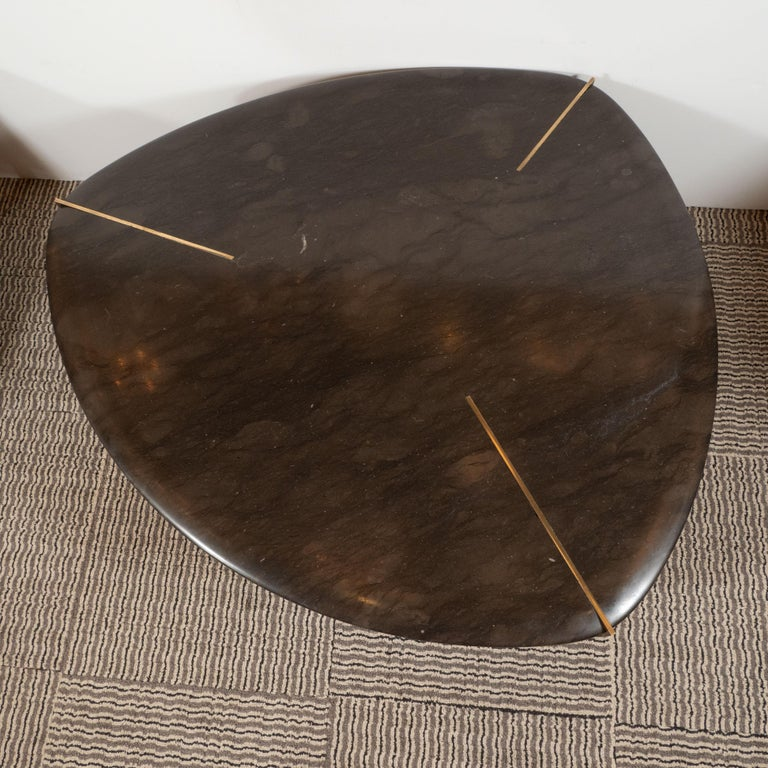 Organic Modernist Armani Marble Cocktail Table with Patinated Bronze Feet For Sale 3