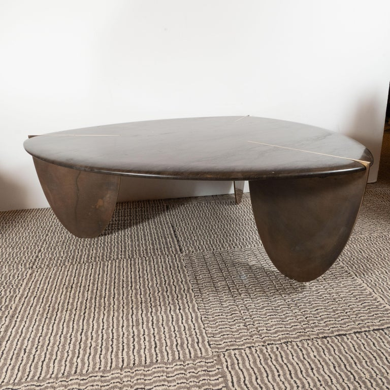 Organic Modernist Armani Marble Cocktail Table with Patinated Bronze Feet For Sale 4