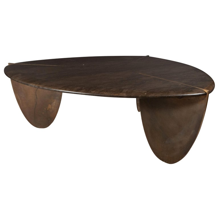 Organic Modernist Armani Marble Cocktail Table with Patinated Bronze Feet For Sale