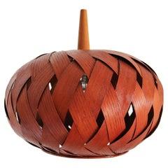 Organic Modernist Natural Teak Wood Veneer and Wicker Pendant Lamp, 1960s
