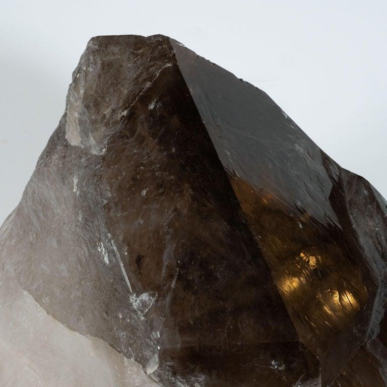 Organic Modernist Smokey Gray Scale Quartz Rock Specimen on Clear Lucite Base For Sale 6