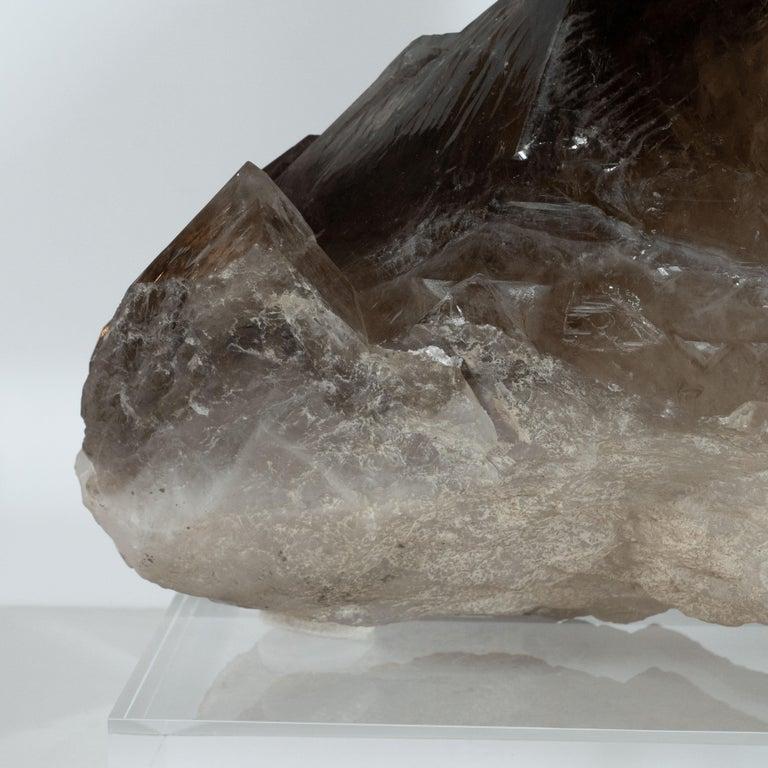 Brazilian Organic Modernist Smokey Gray Scale Quartz Rock Specimen on Clear Lucite Base For Sale
