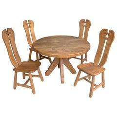 Organic Oak Dining Set by Architectural Firm De Puyd, Belgium, 1970s