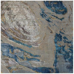 Organic Coastal Pattern Hand Knotted Wool and Silk Abstract  Beige Turquoise Rug