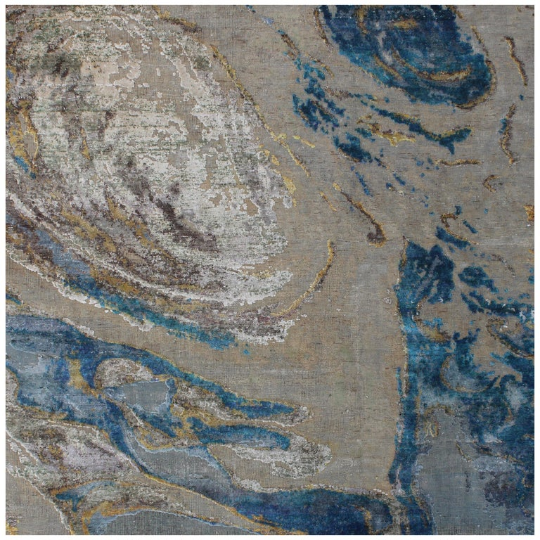 Organic Coastal Pattern Hand Knotted Wool and Silk Abstract  Beige Turquoise Rug For Sale