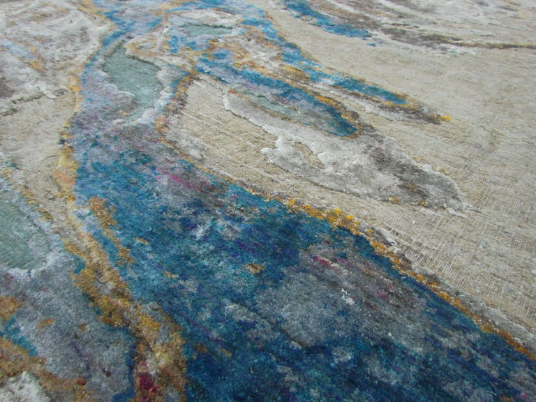 Organic Modern Organic Sea Design Wool and Silk Hand Knotted Abstract Sand and Turquoise Rug For Sale