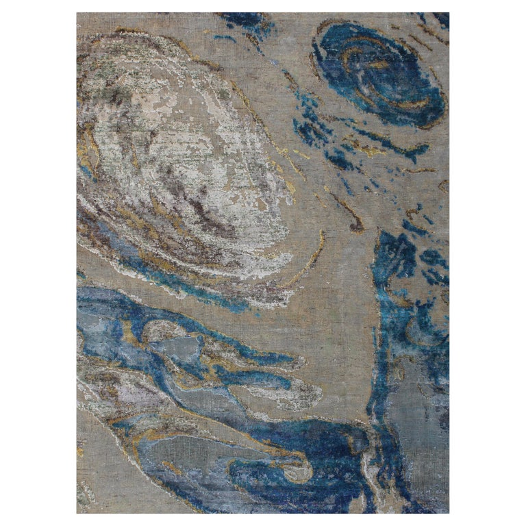 Organic Sea Design Wool and Silk Hand Knotted Abstract Sand and Turquoise Rug For Sale
