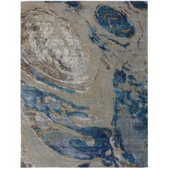 Sand White Turquoise Ocean Pattern Hand-Knotted Wool and Silk Organic Rug Stock