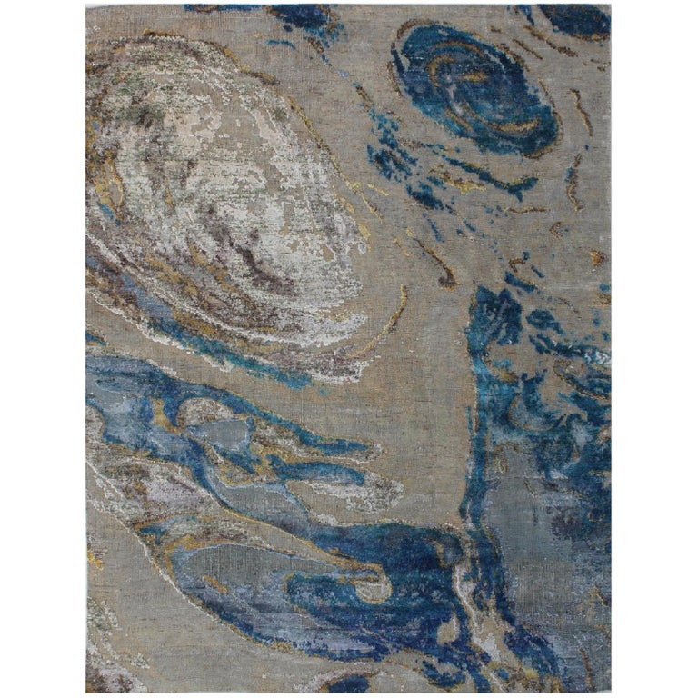 Sand White Turquoise Ocean Pattern Hand-Knotted Wool and Silk Organic Rug Stock For Sale