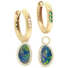 Organic Opal Charms and The Zen Gold 18 Karat Reversible Huggies Earrings