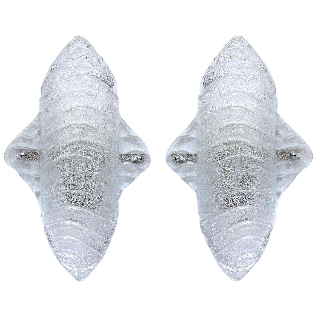 Pair of Austrian Textured Organic Ice Glass Wall Lights Sconces, 1960s