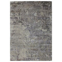 Organic Texture Abstract Grey Silver Beige Wool and Silk Hand Knotted Rug