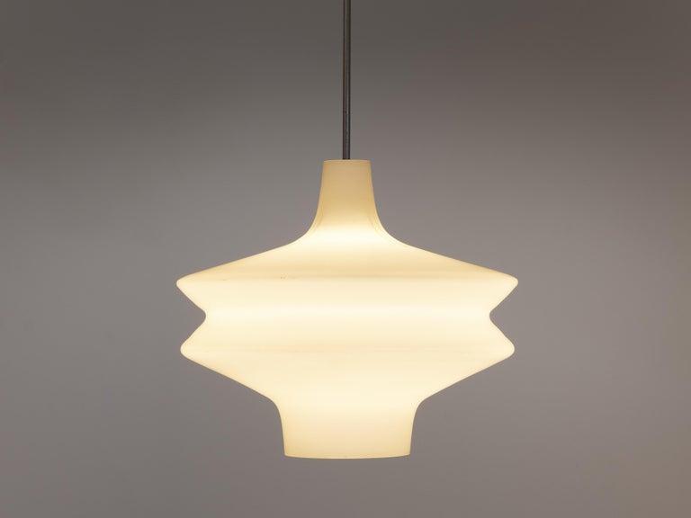 Mid-Century Modern Organic Pendant in Opaline Glass For Sale
