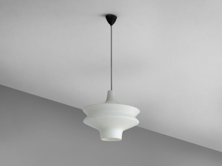 European Organic Pendant in Opaline Glass For Sale