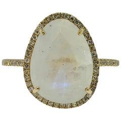 Organic Rainbow Moonstone and .25 Carat Diamond Halo Ring in Stock