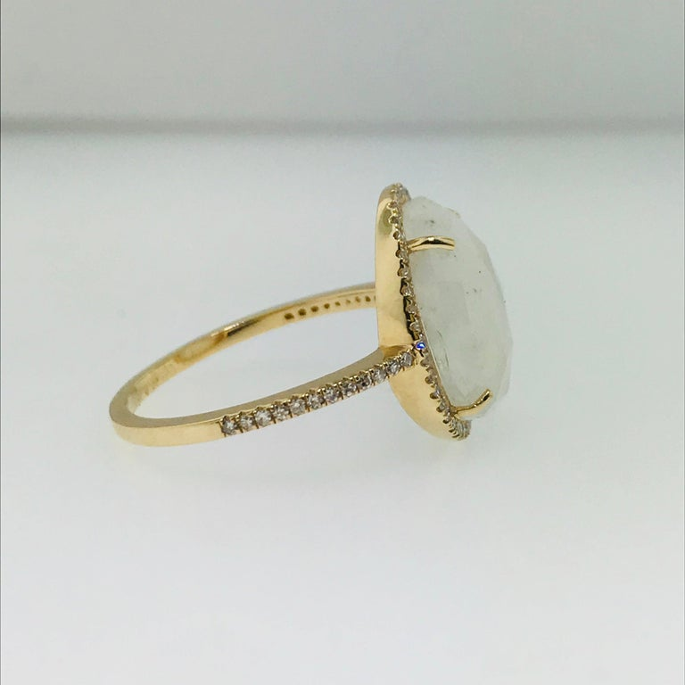 For Sale: undefined Organic Rainbow Moonstone Ring and .25 Carat Diamond Halo Ring 3