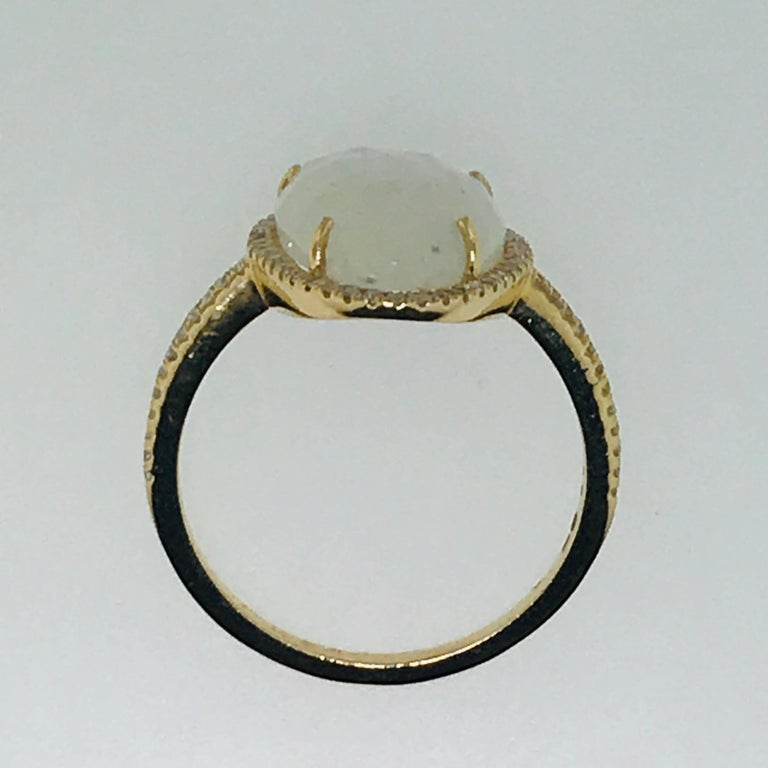 For Sale: undefined Organic Rainbow Moonstone Ring and .25 Carat Diamond Halo Ring 5