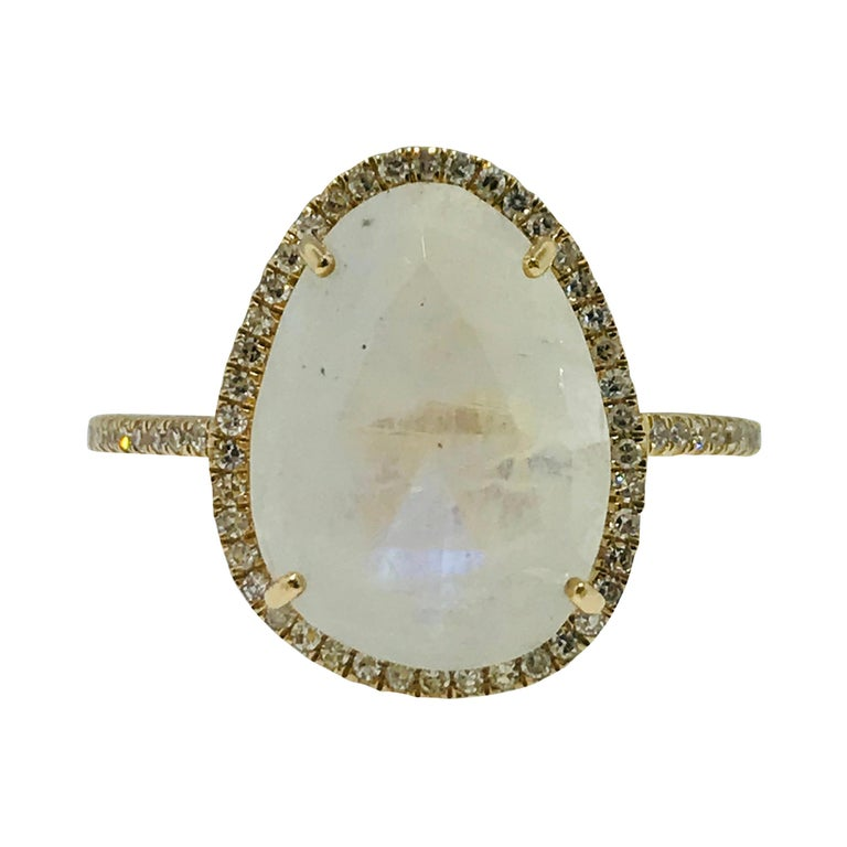 For Sale: undefined Organic Rainbow Moonstone Ring and .25 Carat Diamond Halo Ring