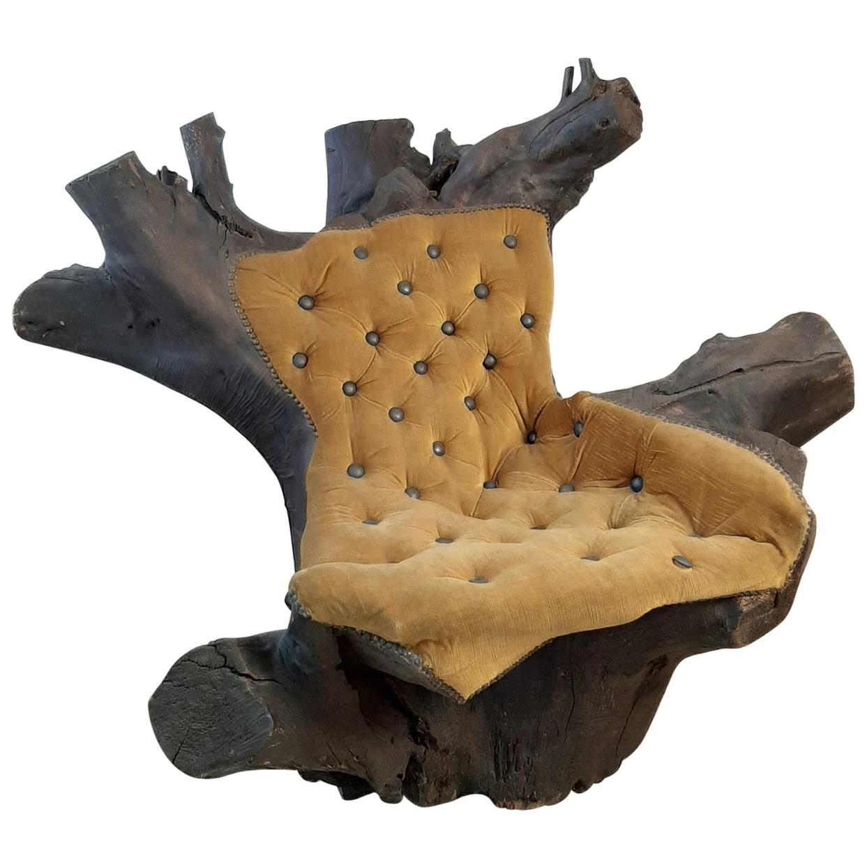 Organic Sculptural Tree Trunk Root Chair with Yellow Velvet Upholstery
