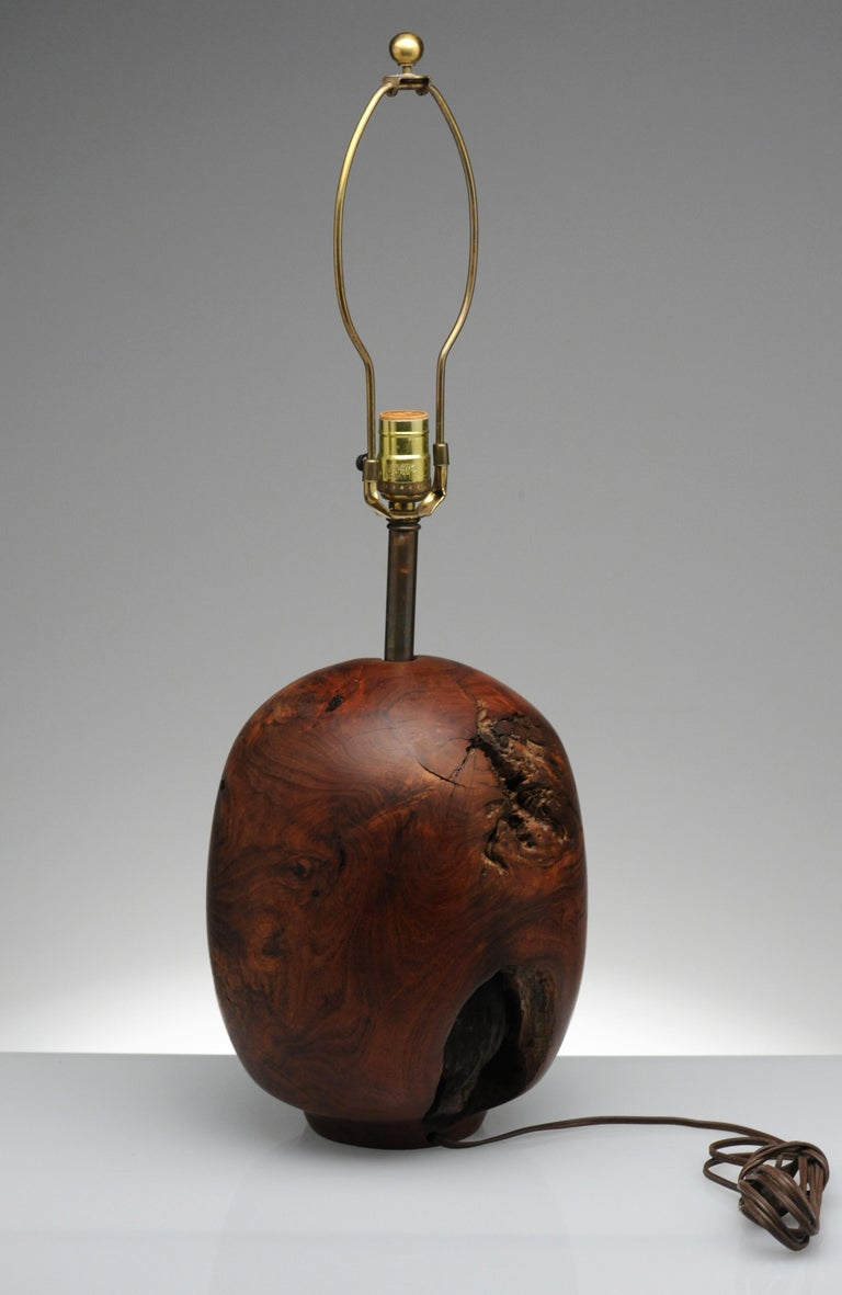 Organic Sculpture Turned Mesquite Table Lamp by Chris Eggers For Sale 5